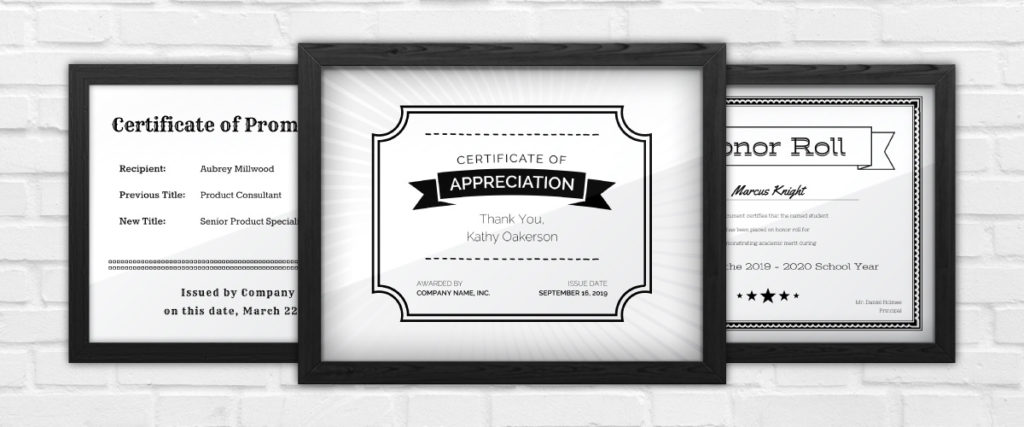 Our Black and White Certificate Templates