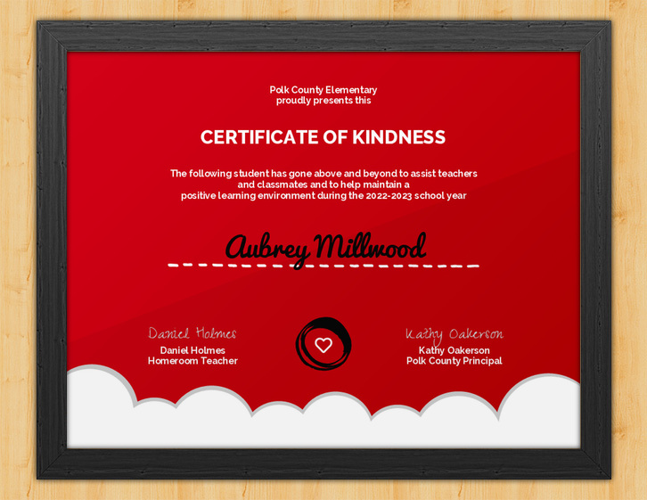 Helping Hand - Certificate of Kindness