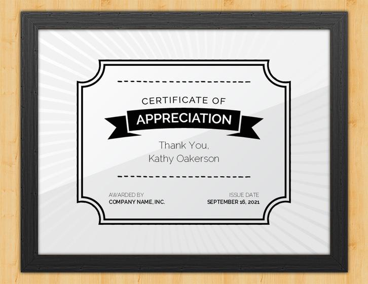 You Are Appreciated - Certificate of Appreciation for Donation