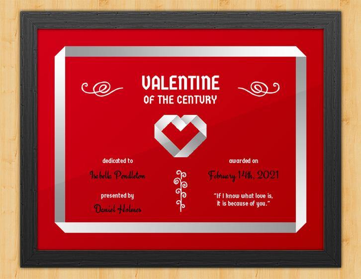 Origami Love - Valentine's Day Certificate