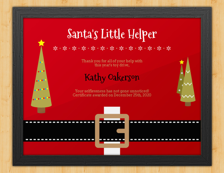 Santa's Little Helper - Christmastime Certificate - Award Hut