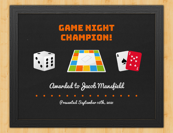 Contestant - Game Night Certificate