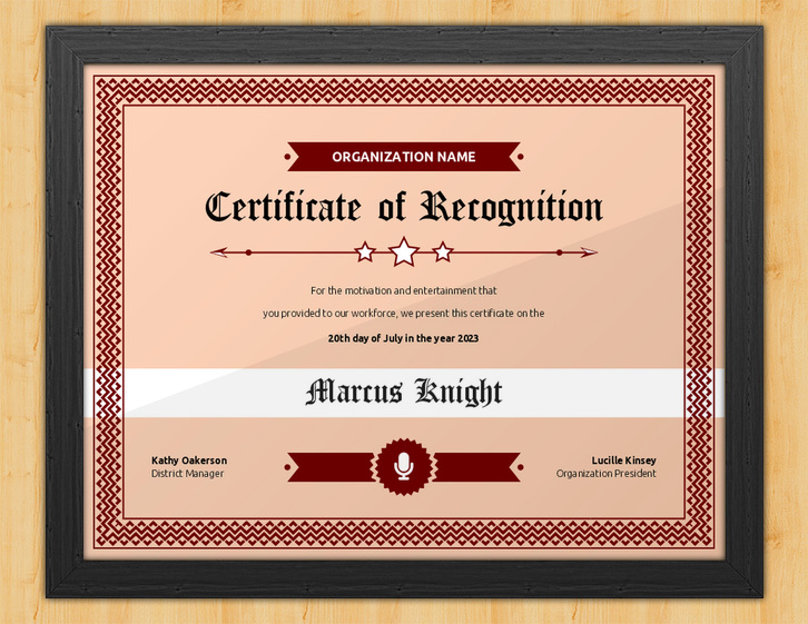 Never Overlooked - Certificate of Recognition for Speaker