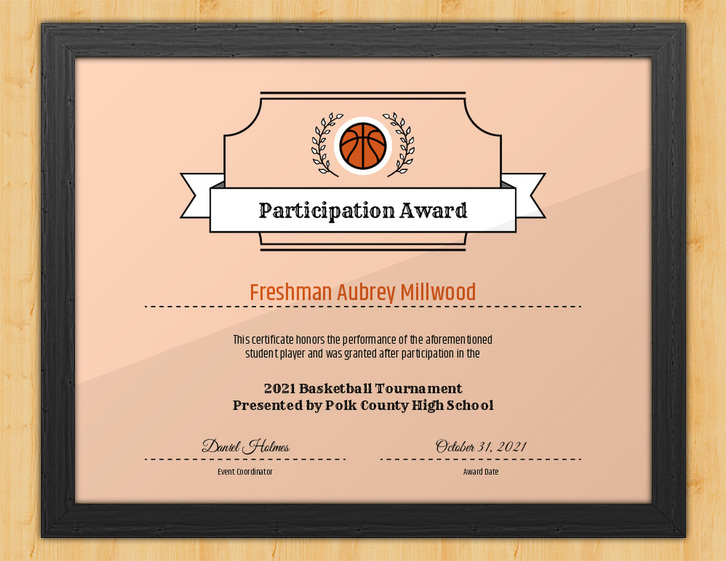 Nothing But Net - Basketball Participation Certificate