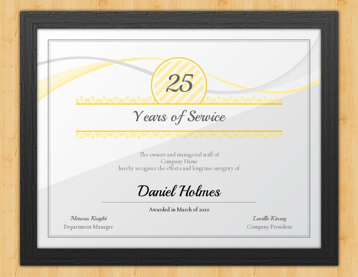 longevity years of service certificate template award hut. Black Bedroom Furniture Sets. Home Design Ideas
